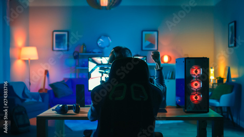 Back Shot of a Gamer Playing and Winning in First-Person Shooter Online Video Game on His Powerful Personal Computer Wallpaper Mural