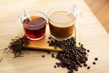 Hot Tea And Coffee With Tea Leaves And Coffee Beans
