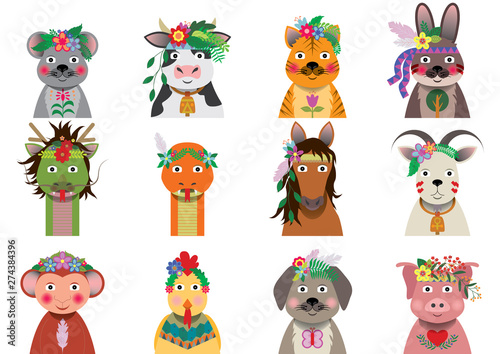 Wall Murals Bears A set of Chinese zodiac with bohemian floral headpiece