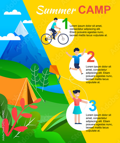 Fotografie, Tablou Summer Camp Infographic with Actions List for Kids