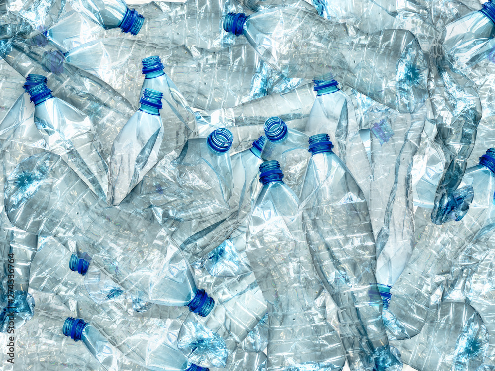 Fototapeta Pile of used empty PET bottles