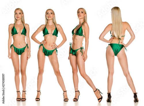 Fototapeta Collage of same pretty young lady in green swimsuit and sandals on white background obraz na płótnie