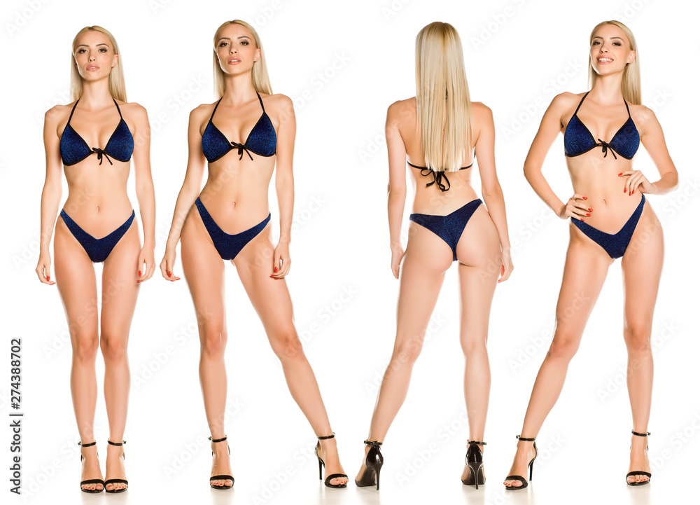 Fototapeta Collage of same pretty young lady in blue sparkling glitter bikini swimsuit and sandals on white background - obraz na płótnie