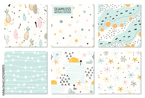 Fototapeten Künstlich Seamless abstract patterns and prints set. Vector fashion collection pastel colors.
