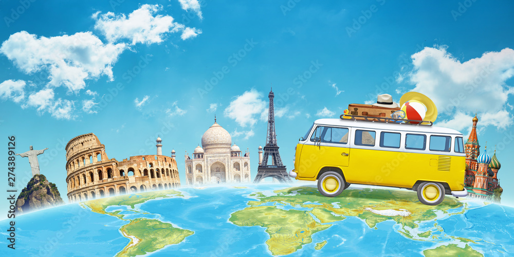Fototapety, obrazy: Travel by van to world famous destinations concept. Free space above for text.