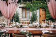 canvas print picture - Rustic style wedding table decoration and floristics design