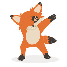 Fox Dub Dancing Sign Cartoon Vector