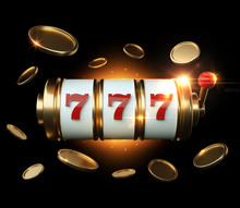 Casino Banner, Gambling Concept, Gold Slot Machine With Red Details And Golden Coins - 3D Illustration