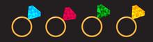 Wedding Gold Diamond Ring Set Line. Polygonal Effect. Blue, Pink, Green, Yellow Color. Flat Design. Love Wedding Atribute. Black Background. Isolated.