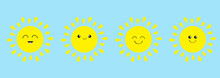 Sun Shining Icon Set Line. Kawaii Face With Different Emotions. Cute Cartoon Funny Smiling Character. Hello Summer. Baby Collection. Flat Design. Blue Background. Isolated.