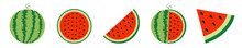 Watermelon Icon Set Line. Whol...