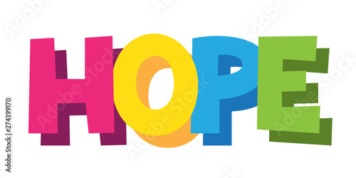 Fényképezés  HOPE cartoon-style hand lettering banner
