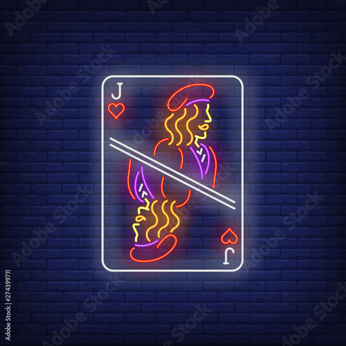 Jack of hearts playing card neon sign Canvas Print
