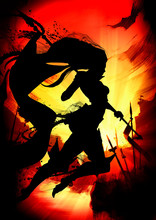 Silhouette Of A Woman Knight R...