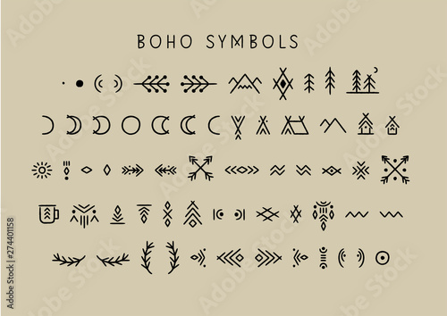Ingelijste posters Boho Stijl Vector set of line art symbols for logo design and lettering in boho style