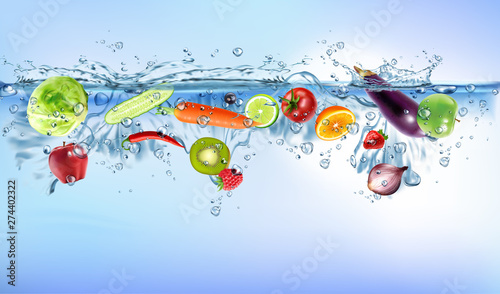 Poster Opspattend water fresh vegetables splashing into blue clear water splash healthy food diet freshness concept isolated white background.