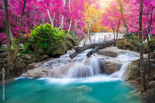 Spoed Fotobehang Watervallen Amazing in nature, beautiful waterfall at colorful autumn forest in fall season