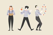 Three Mimes Juggle And Play The Harmonica