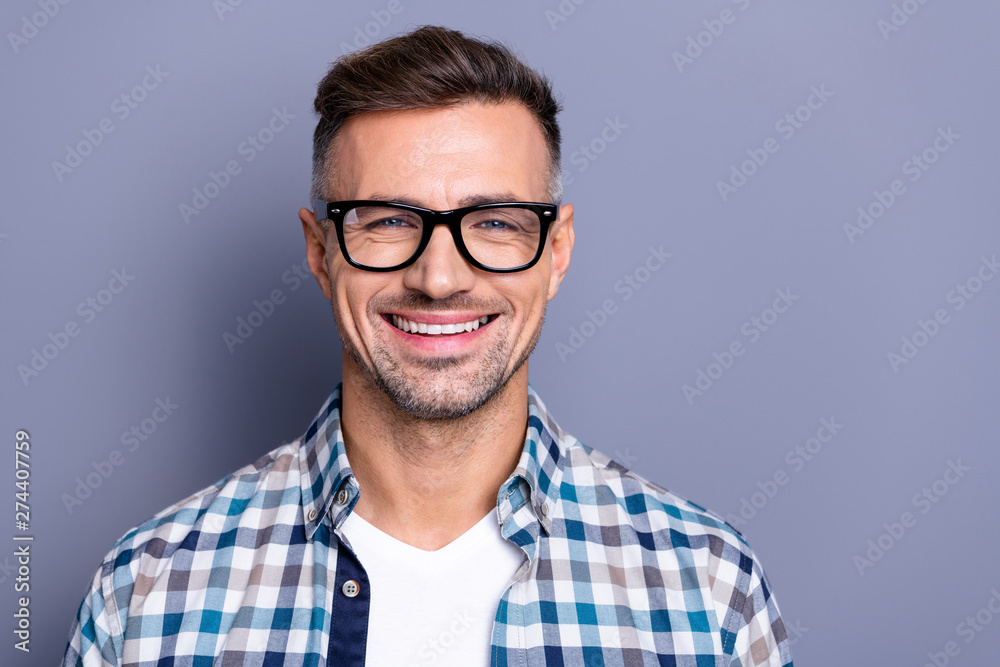 Fototapety, obrazy: Close up photo handsome attractive he him his guy intelligent reliable manager person peacefully cute funny smile neat bristle beard wear specs casual plaid checkered shirt isolated grey background