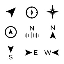 Navigation, Directions, Compass And Wind Rose Icons.