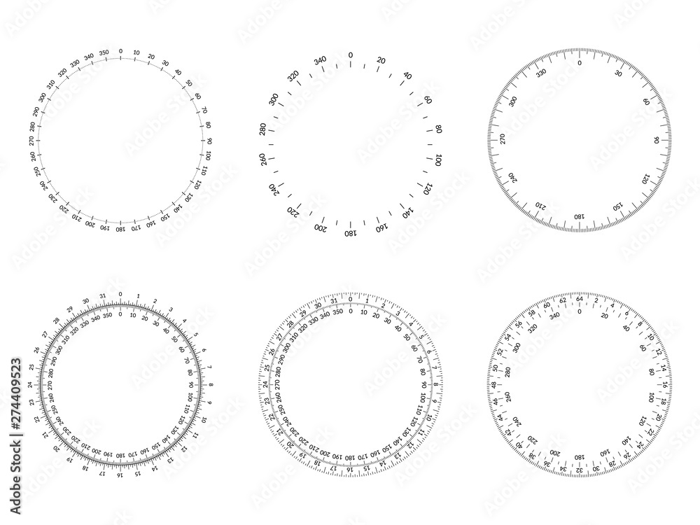 Fototapety, obrazy: Circular protractor dial faces with editable stroke width.