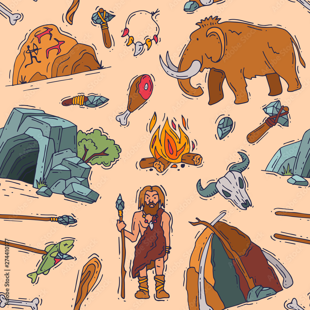 Fototapety, obrazy: Primitive people vector primeval neanderthal character and ancient caveman fire in stone age cave illustration prehistoric man with stoned weapon and mammoth