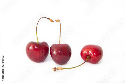 sweet cherry berries isolated on white background. red berries. . Isolated objects