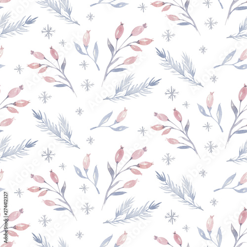 Foto auf AluDibond Künstlich Watercolor seamless Christmas pattern with floral forest tree, snowflakes, pine branches. Penguin winter snow hand drawn