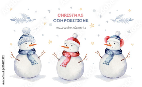 Obraz na plátne Watercolor merry christmas set of character snowmans illustration