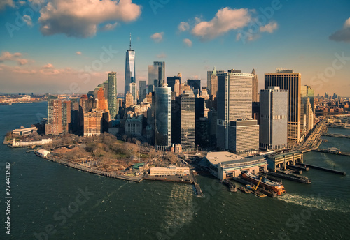 Aerial view of the island and skyscrapers of Manhattan, New York, USA Canvas Print