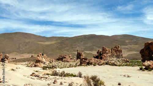 Obraz Bolivia: red rock formations of the Italia Perdida, or lost Italy, in Eduardo Avaroa Andean Fauna National Reserve - fototapety do salonu