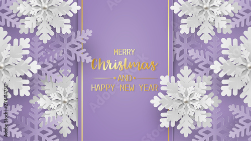 Obraz Merry christmas and happy new year greeting card, postcard with snowflake on purple background. Paper art style - fototapety do salonu