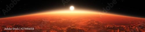 Foto auf Gartenposter Ziegel Panorama of Mars from the orbit of the planet at sunrise