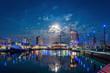 canvas print picture - Havenwelten Bremerhaven bei Nacht mit Vollmond