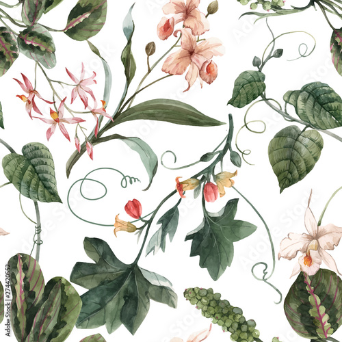 Watercolor tropical seamless vector pattern - 274420552