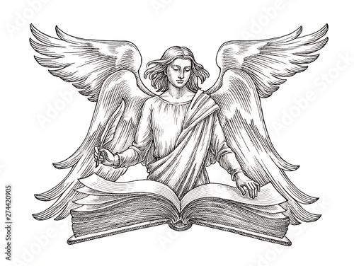 Hand drawn illustration in the engraving style, angel with a book Canvas Print