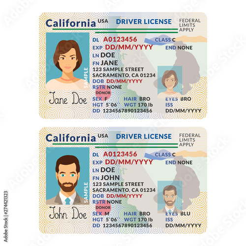 Fotomural Vector template of sample driver license plastic card for USA California