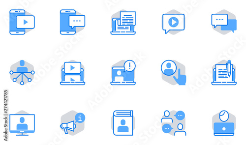 Blogging Vector Flat Line Icons Set  Social Network, Social Media