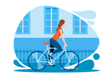 Girl Dressed In A T-shirt And Tight-fitting Pants Riding A Bicycle Through The City. Colorful Vector Illustration In Flat Style.