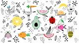 Fototapeta Fototapety na ścianę do pokoju dziecięcego - Animals fruit characters Doodle illustration hand drawn background