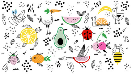 Animals fruit characters Doodle illustration hand drawn background