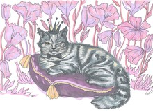 A Gray-white Cat Of British Tabby Breed In A Crown And With A Bow Tie Around His Neck Is Lying On A Lilac Pillow Against A Background Of Pink Flowers