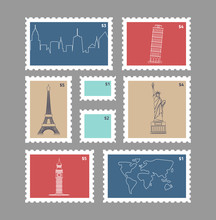 Set Of Postage Stamps With Line Travelling City National Landmarks Vector Illustratopn With Eiffel Tower Big Ben World Map And Urban Silhoutte