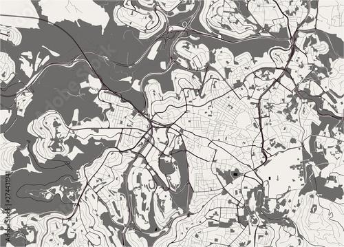 Fotografie, Obraz map of the city of Jerusalem, Israel