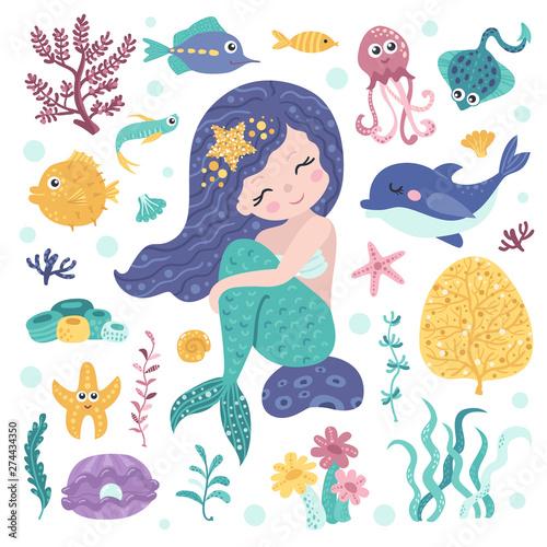 Photographie  Set of cute mermaid, seaweeds and marine inhabitants