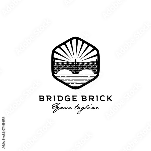 bridge brick logo design Fototapet