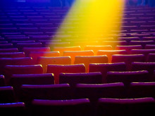 Blur Soft Focus. The Interior Of Theatrical Art. The Auditorium With Chairs And Stools. Cinema. The Viewers. Background