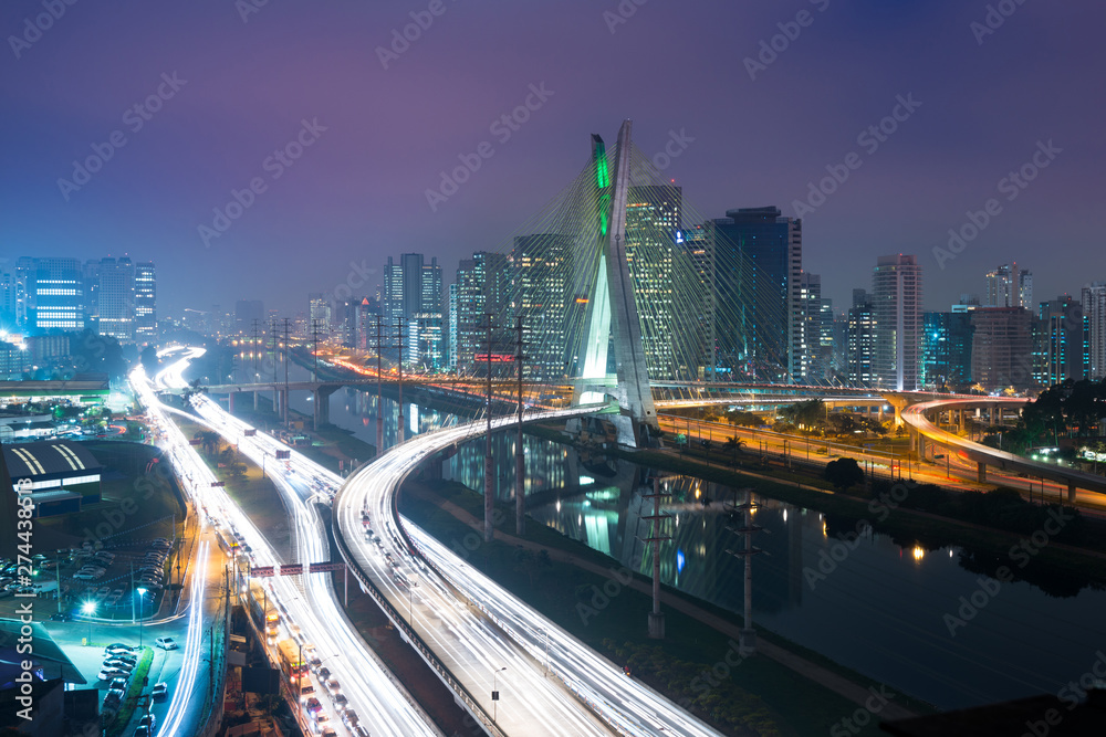 Fototapety, obrazy: Skyline of Sao Paulo at night, Brazil