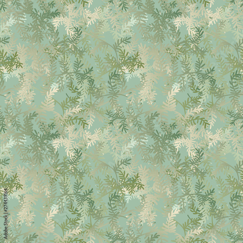 A seamless vector pattern with christmas tree branches in pale green gradients Poster Mural XXL