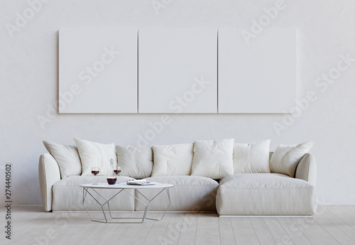 White living room with couch, table and mockup pictures Tableau sur Toile